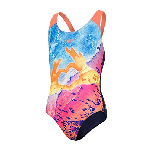 Speedo Sun Pebble Placement Digital Splashback Bañador, Niñas, Azul Marino/Naranja Fluorescente/Turquesa...