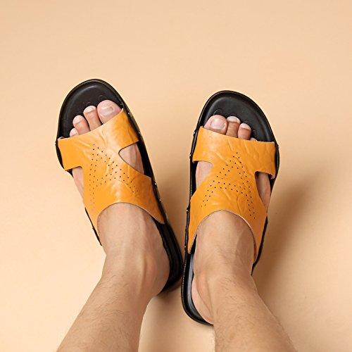 Sandales d'été, véritable cuir toe souliers, pantoufles pour hommes, word, faites glisser les trous d'air, chaussures trou Black 6066