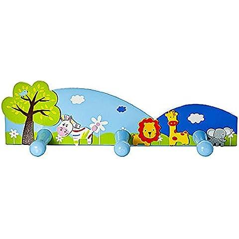 Triple Perchero de pared para con temática de safari para la habitación de niños y niñas