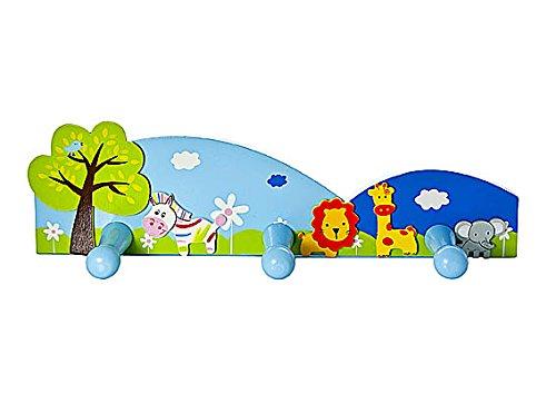 Ganci appendiabiti a parete porta triplo gancio per abiti da muro per bambini a tema safari per la cameretta o per la stanza da letto di bambini e bambine