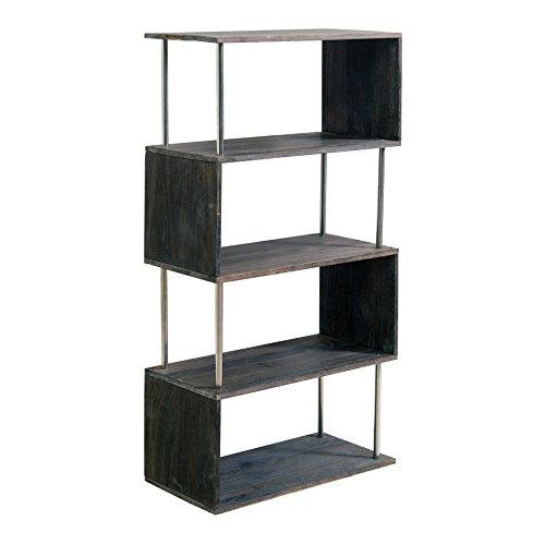 mobili rebecca scaffale libreria 4 ripiani legno scuro storage design moderno soggiorno camera (cod. re4494)