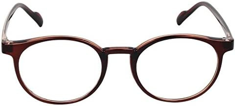 Oval Spectacle Frame For Boys|Girls|Men|Women.Brown Color Frame.