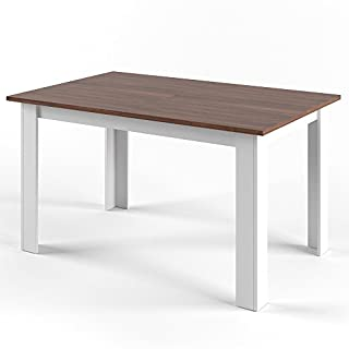 Vicco Esstisch KARLOS 140cm Weiß Nussbaum Esszimmertisch Wohnzimmer Küchentisch +++ mit kratzfester Robuster Melaminharz-Oberfläche +++ (Weiß Nussbaum)