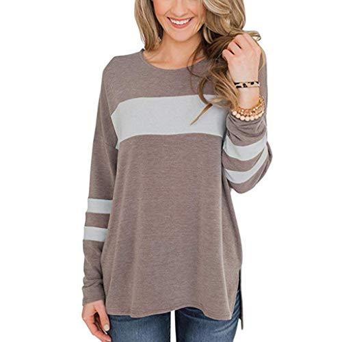 Damen Oberteile Langarm Sweatshirt Pulli Pullover Tasten Rollkragen Tshirt Top -