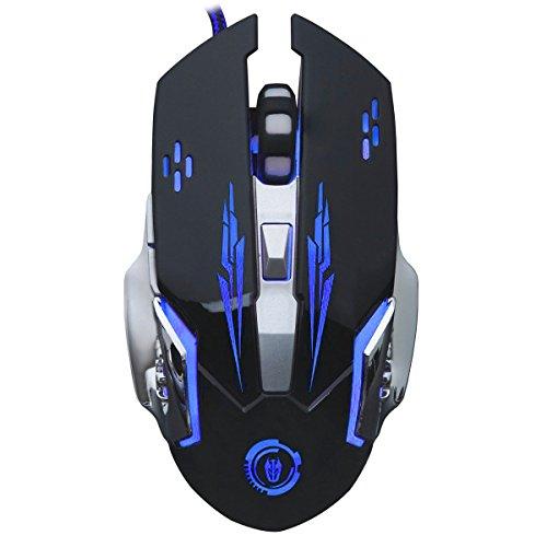 Gaming Maus, MMHDZ V5 Verdrahtete Computer Game Mause USB Optische LED Stumm Spiel Maus/ Mac / PC / Laptop 6 Taste (Schwarz) Imac Logitech Tastatur