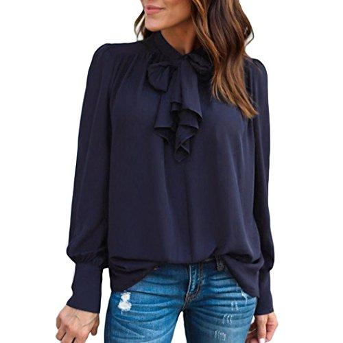 OYSOHE Damen Lässige Unifarbens Chiffonhemd, Neueste Frauen Beiläufige Chiffon Lange Hülsen-Feste Bogen Oberseiten T-Shirt Bluse(03-Marine,M)