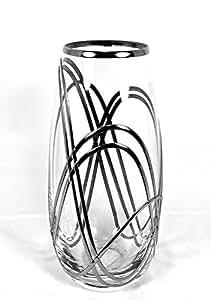 Superbe Vase en verre lourd pour fleurs 25cm. Présenté dans un design Tourbillon Rennie Mackintosh unique, Art Nouveau, Art Déco inspiré