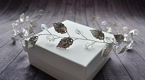 aukmla Hochzeit Silber Blätter Krone Kopfbedeckung Jewelry Braut-Haarteil für Frauen und (Diy Kostüme Meine Mädchen)