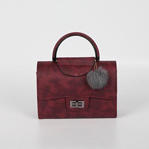 Weibliche schlagfarbe kleine kleine quadratische paketart und Weiseschulterbeutel einfache kettendiagonalpaket Rot
