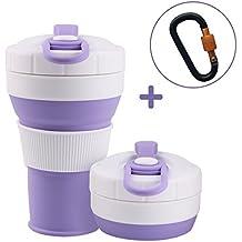 RCruning-EU Tazas de Viaje Silicona Plegable,Vaso de Agua de Silicona Plegable 550ml