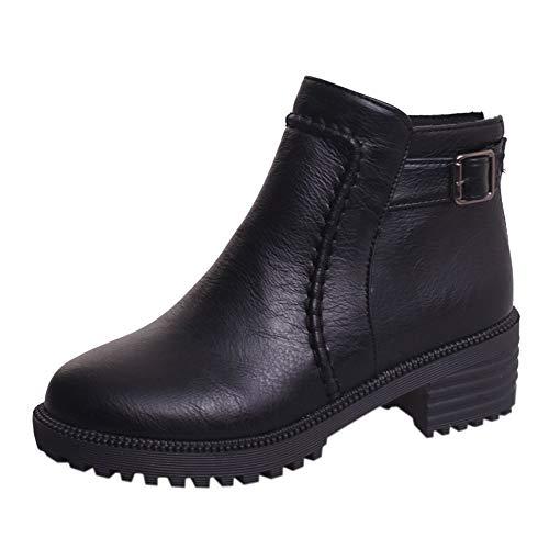 Botas Martin tacón cuña Altos para Mujer Otoño Invierno PAOLIAN Moda Botines de Cuero con Cordones Calzado Dama Zapatos Piel Bajos Marrón Talla Grande Botas Chelsea Baratos Calzado de Trabajo