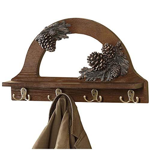 Haken Garderobe aus Holz Wand hängen Regal Laminat Handtuchhalter Schlafzimmer Badezimmer Rack (Color : Brown, Size : 50 * 10 * 30CM) -