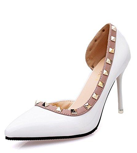 Minetom Frühjahr Sommer Herbst Mode Dame Wies High Heels Asakuchi Niet Stöckelschuhen Die Füße Schuhe Pumps Parteien Hochzeit Weiß EU (Sexy Parteien Kostüme)