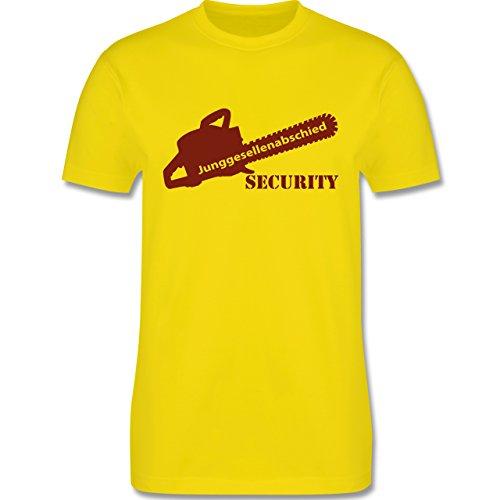 JGA Junggesellenabschied - Kettensäge Security - Herren Premium T-Shirt Lemon Gelb