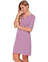 bd2e9d3774ec37 ACEVOG Damen V-Ausschnitt Gestreift Kleid Halbarm Mini Strandkleid  Freizeitkleid Casual Column Kleid