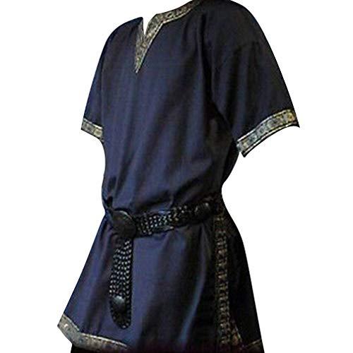 Hombres Túnica Medieval - Vintage Renacimiento Camisa Disfraz Moda Manga Corta Cuello en V Blusas Tops para Halloween Cosplay Tallas Grandes Verde/Negro/Azul Oscuro/Marrón (Sin Cinturón)