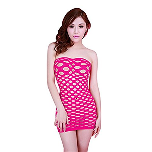Surded Damen Körper Strumpf Dessous Bodysuit Nachtwäsche (Pink) (Fischnetz-bodysuit)