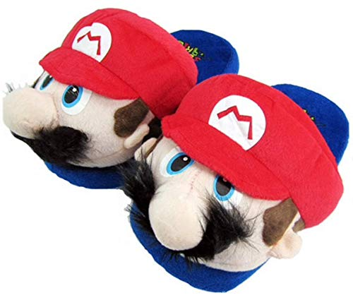thematys  Super  & Luigi Plüsch Haus-Schuhe - kuschelig warm für Zuhause - Lustige Pantoffeln für Erwachsene & Kinder - Unisex, Einheitsgröße, Mario