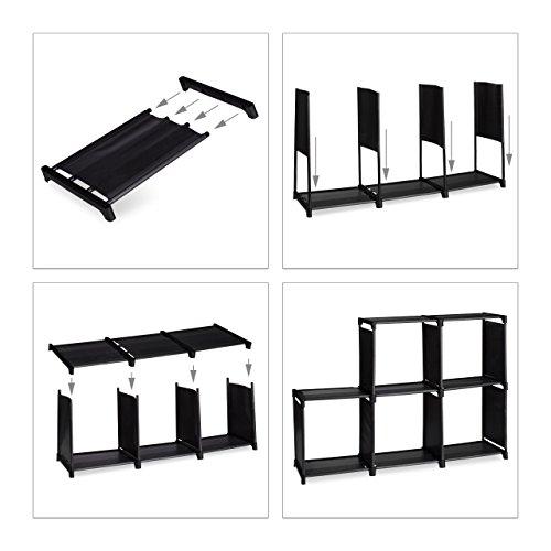 5 teiliges Aufbewahrungs Set, Stufenregal schwarz, 6 Fächer, einfaches Stecksystem, Faltboxen 2er Pack, Regalbox beige