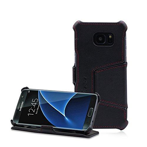 MANNA Samsung Galaxy S7 Edge Hülle Lederhülle Tasche Handyhülle   Nappaleder Leder Case Cover   Etui Standfunktion für Galaxy S7 Edge Case