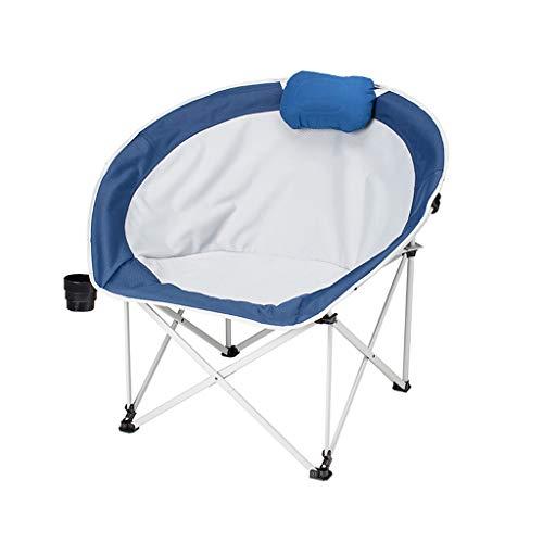 DUOER-Klappstühle Outdoor-Freizeit-Camping-Stuhl mit Edelstahlrahmen Padded Design, Faltbare Portable Fishing Chair mit Becherhalter (Color : Blue)