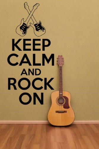 "'Keep Calm and Rock on' Versione 2 - vinyl Wall Sticker, Black, Small: 30cm x 60cm / 12"" x 24"""