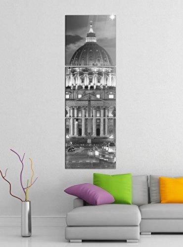 Leinwandbild 3tlg Petersdom Vatikan Rom Italien Papst schwarz weiß Bilder Druck auf Leinwand Vertikal Bild Kunstdruck mehrteilig Holz 9YA5370, Vertikal Größe:Gesamt 40x120cm