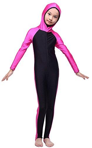 Fortuning's JDS Kinder, Mädchen, Jungen Bescheidenheit mit Kapuze in voller Länge ein Stück Kostüm UPF 50+ Badebekleidung (Schwimmen Ganzkörper Kostüme)