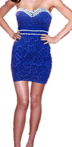 QIYUN.Z Bling Paillettes Mounte Bustier Clubwear Troncon Court Robe Femmes Clubwear Nuit Robe Soiree Cocktail Club Femmes bleu royal