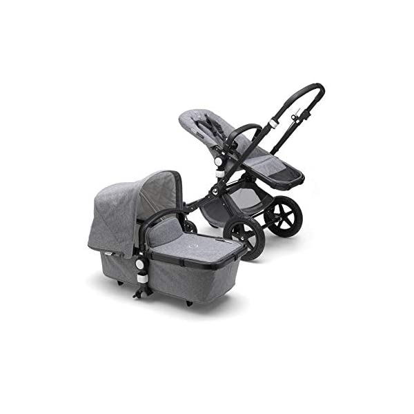 Bugaboo Cameleon³ Plus Classic+ Pushchair - Black + Grey Melange Bugaboo Foam filled rubber tyres Mattress with aerated inlay One hand release carrycot 3