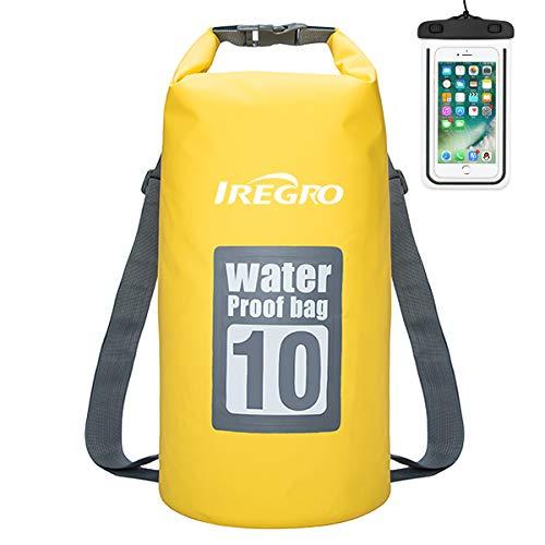 IREGRO Bolsas Estancas Impermeable 10L 500D Doble Correa para el Hombro seco Bolsa Mochila Impermeable con Caja teléfono Resistente al Agua para natación, canotaje, Lona, Camping, Flotante, Rafting