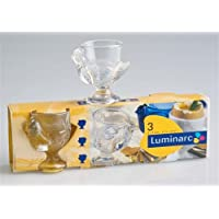 Pack of 3 Traditional Clear Glass Hen Egg Cups