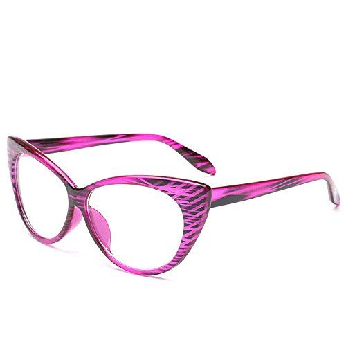 PDYCD Retro- Sonnenbrille Sexy Katzenauge USA Mode Flacher Spiegel Damen Visier Mädchen Spassvogel Schutzbrillen Mode Gläser,Purple
