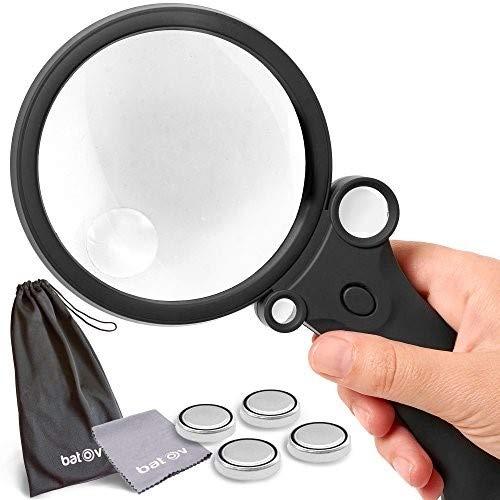 4in 1Lupe mit Beleuchtung 5LED-Lichter. batov, 4integrierte Handlupe Acryl Objektiv 2,5x 4,5x 25x 55x. Best für Lesen, Münzen Sammler, Karte, Inspektion, Computer & Watch Reparatur
