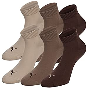 6 Paar Puma Sneaker Quarter Socken Gr. 35 - 49 Unisex für Damen Herren Füßlinge, Farbe:717 - chocolate/walnut/safar;Bekleidungsgröße:L