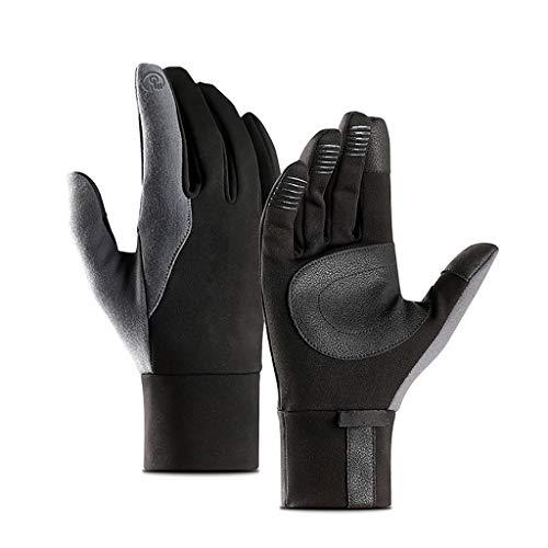 ASTVSHOP MäNnliche und Weibliche Touchscreen-Handschuhe auf Dem Winddichten Touchscreen, Und rutschfeste wasserdichte Samt-Vollfingerhandschuhe, Reithandschuhe (grau, XL)