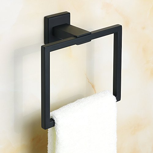 sayayo Handtuchring Handtuchhalter Wand montiert, modernes quadratisches Design, Edelstahl matt schwarz, egk8009-b (Whitmor Korb)