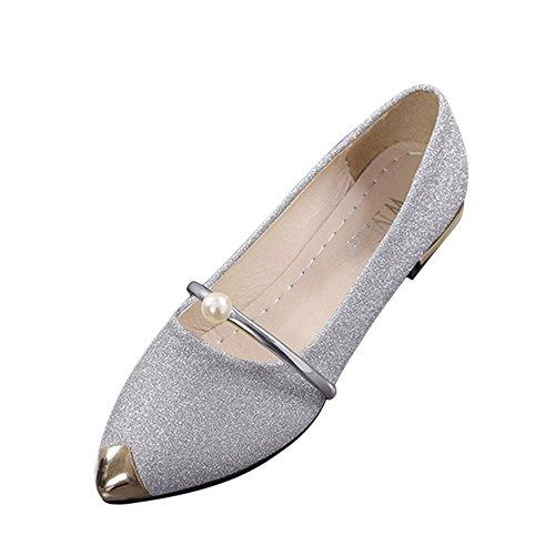 Metall-heel Stiefel (Damen schuhe,DOLDOA Spitzschuh Niedriger Blockabsatz Stiefel Mit Metall Dekoration Gr.34 - 38 (EU: 37, Silber,Spitzschuh Stiefel Mit Metall Dekoration))