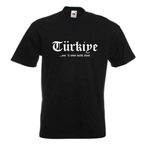 T-Shirt Türkei TÜRKIYE never walk alone, bedrucktes schwarzes Fanshirt, patriotisch nationalstolz, auch große Größen (WMS01-68a) XXL