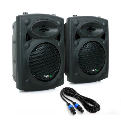 Ibiza SLK Paar PA-Boxen aktiv Lautsprecher Paar 600 Watt inkl. 10m Lautsprecherkabel (2x 20CM (8 Zoll)-Subwoofer, USB-SD-Eingang, Fernbedienung) (Paar 8-zoll-subwoofer)
