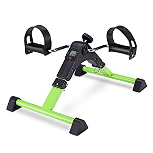 FITODO Pedal Trainer Pedale della Bici Mini Bike Esercizio Pedale Exercycle con Monitor LCD per Il Recupero di Braccia e Gambe,con Rilievo Antisdrucciolevole(Verde)