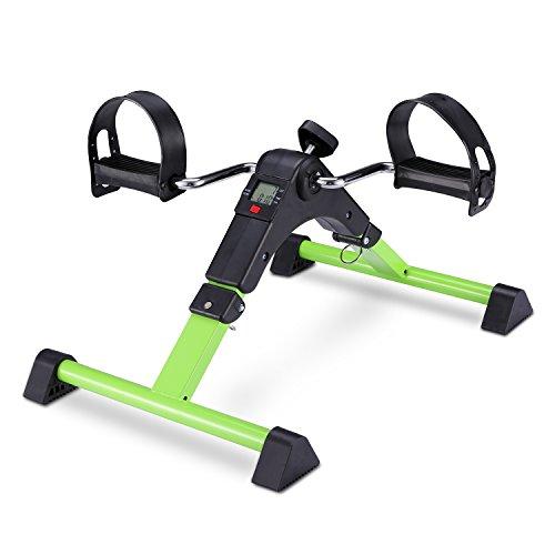 EXEFIT Mini Fahrrad Pedaltrainer für Arm- und Beintrainer Heimtrainer mit LCD-Monitor Faltbare(Grün)