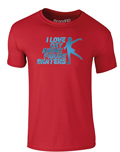 Brand88 - I Love Gay Anime Figure Skaters, Erwachsene Gedrucktes T-Shirt Rote