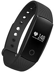 Pulsera Inteligente, SAVFY Deportes Pulsera Reloj de Pulsera Teléfono Celular Mate con Podómetro Con pantalla táctil SMS de llamada Bluetooth 4.0, Compatible con iPhone y Android Smartphone