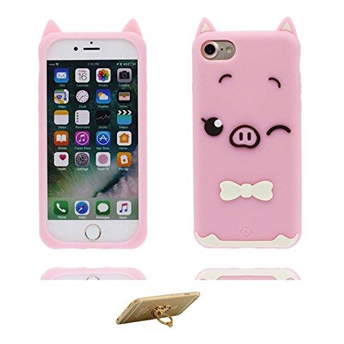 "iPhone 7 Coque, TPU Material Flexible iPhone 7 Étui, iPhone 7 Case 4.7"" [Choc à l'épreuve] [ Pretty Soft Plastique ] ring Support - Cartoon Strawberry 3D Cover Pink"