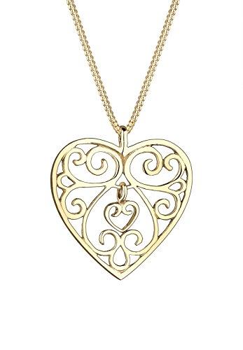 Goldhimmel Damen Halskette mit Anhänger Herz Liebe Freundschaft 925 Sterling Silber Vergoldet 45 cm