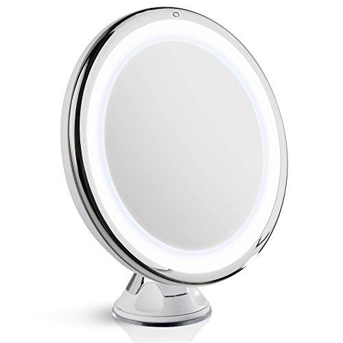 Fancii Tageslicht LED Kosmetikspiegel Beleuchtet mit 10-facher Vergrößerung, Dimmbares Licht, Starker Saugnapf, 20 cm Breit, 360° Schwenkbar, Schminkspiegel mit Blendfreier Beleuchtung für unterwegs