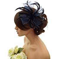 Stunning Feather & Net Bow with pearlised beads Fascinator, hair Clip, Corsage (Navy blue) by Ci Ci