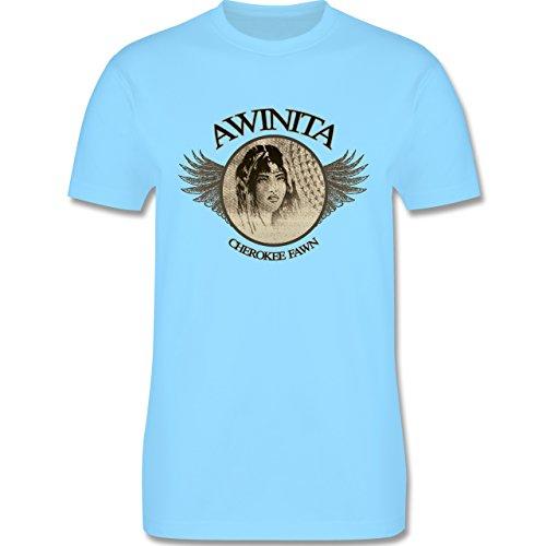 Vintage - Awinita - Cherokee Mädchen - Herren Premium T-Shirt Hellblau