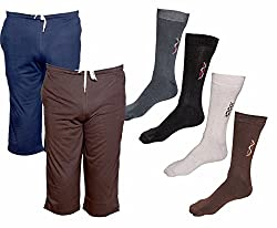 IndiWeaves Mens Combo Pack (Pack of 2 Cotton Mens 3/4 Pants /Capri and 4 Cotton Socks)-Multiple Color_Size-42